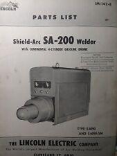 Lincoln Sa 200 Short Hood 1955 S 6090 Dc Welder Parts Catalog Manual Continental