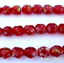 25 6mm Czech Glass Firepolish Beads: Marbled Gold - Siam/Ruby