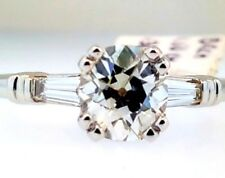 Vintage 1.50ct Antique Cushion Mine Cut Diamond Baguette Engagement Ring 1.80ctw