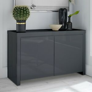 Alana Grey High Gloss 2 Door Sideboard / Modern Cabinet Storage Unit / Cupboard