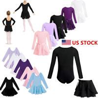 US Kids Girls Ballet Leotards+Tutu Wrap Skirt Dance Dress Gymnastics Dancewear