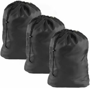 Heavy Duty Nylon Laundry Bag 3 Pack Tear Resistant Machine Washable Home College
