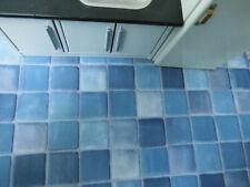 PVC-FLIESEN-Boden,blau marmoriert,30x40cm,schön für Puppenstube Küche Badezimmer