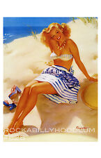 Pin Up Girl Poster 11x17 beach blonde baby bikini summer old hollywood glamour
