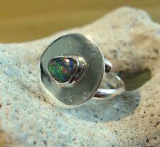 Opal Ring Silber 925 Größe flexibel Doppelband Spirale Designerring neu wow R39