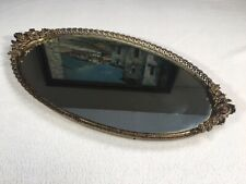 """Victorian Style Mirrored Vanity Tray Brass And Mirror Floral Rose Theme 16""""x 9"""""""