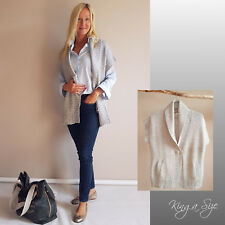 c9ac6e0ca2d52c Damen Weste Strickweste Winter Outfit Cardigan Strickjacke & Taschen Gr.44  grau