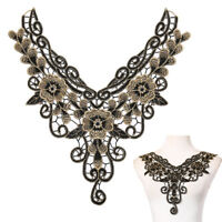 Embroidered floral lace neckline neck collar trim clothes sewing applique huSGF