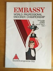 1980 Signed x 6 Embassy World Snooker Programme from Crucible Theatre - Thorburn
