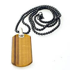 "David Yurman Exotic Stone Tag in Tiger's Eye 42mm on St. Steel Box Chain 24""inch"
