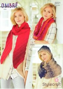 Stylecraft Ombre Aran 9221 Knitting Pattern Scarf Lace Cowl Cosy Hooded Snood