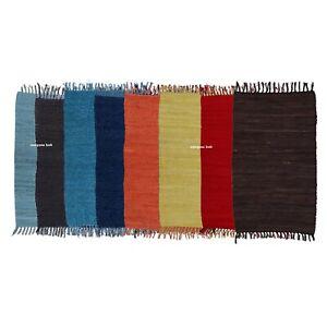Rug 100%Cotton Hand woven 2x3 Feet Area Carpet Rug Home Decor Braided Durrie Rug