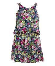 Size 12 Sleeveless Blouson Dress Blue Floral Ladies Womens Summer BNWT #B-89