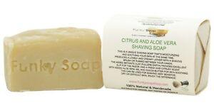 1 piece Citrus & Aloe Vera Shaving Soap Bar, 100% Natural Handmade, 120g