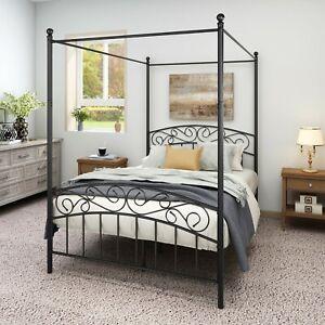Tee Vee Canopy Bed Frame Full Size Vintage style Black Metal