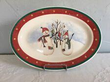 "Royal Seasons Snowman Christmas Oval Serving Platter 14.5"" Holiday Stoneware"