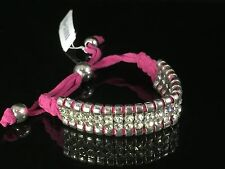 Robert Rose Pink Suede Leather Rhinestone Crystal Silver SP Shamballa Bracelet