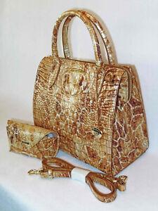 BRAHMIN Elegant FROSTED Caramel/Copper/Bronze CAMEL SAFARI Sm CAROLINE SET NWT