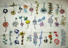 VERY RARE LOT Antique Vintage Sari TRIM LACE EDGING RIBBON 25 Pc CRAFT APPLIQUES