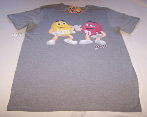 M&M's Red & Yellow Characters Mens Grey Printed T Shirt Size XL New M&M M&MS