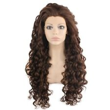 Long Curly 26inch Natural Lace Front Wig Brown Mix Heat Resistant Fiber Hair