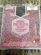 Vintage M&S St Michael Stripe Fox Fine Denier Tights, Medium, BNWT