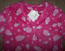 NWT Karen Neuburger Pink Black SHEEP Fleece Nightgown Pajamas Ladies M COZY