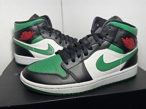"Nike Air Jordan 1 Mid ""Green Toe"" Men's Size 9 Pine Green/Black/Red 554724-067"
