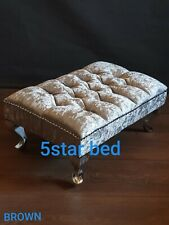 Foot Rest Pouffe Stool QueenAnne Legs British Made with brown crush velvet
