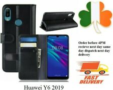 Huawei Y6 2019 new Leather TPU book case cover black