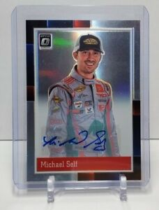 Michael Self SIGNED 2021 Panini Donruss NASCAR Optic PRIZM Silver Retro 1988 #94