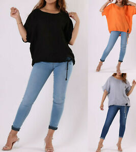 Womens Oversized Italian Lagenlook Linen Tunic Top Ladies Party Shirt Plus Size