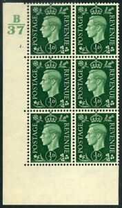 1937 KGVI Dark Colours ½d green Control B37 Cylinder 2 dot (Without Bar) SG 462