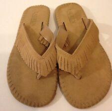 2d1b9786a Lauren Ralph Lauren Beige Tan Suede Leather Fringed Thong Flop Flips Sandals  6 M