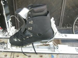 Swiss military touring skis and skins plus poles fritschi 88 bindings