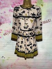 TED BAKER 'RACHELE' NUDE/BLACK COUNTRYSIDE PRINT FLOATY DRESS SIZE 3 UK 12