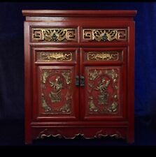BEAUTIFUL CHINESE SOLID ANTIQUE HAND CARVED & GILT CABINET