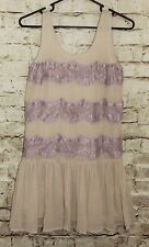 Top Shop Tan Purple Lace Sleeveless Dress Size 4