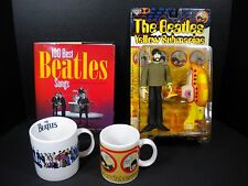 LOT OF THE BEATLES - 2 MUGS YELLOW SUBMARINE MCFARLANE FIGURE GEORGE & BOOK