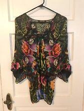 Roberto Cavalli 100% Silk Floral/Leopard Dolman Blouse - Size 44