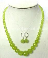 "6-14mm Peridot Round Beads Gemstone Necklace + Earrings 18"" JN1177"
