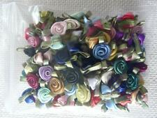 100 ASSORTED COLOURS SMALL SATIN RIBBON ROSES FLOWERS