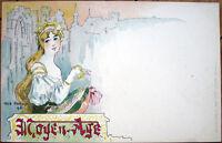 1898 Jack Abeille/Artist-Signed Postcard: 'Moyen-Age' - Color Litho