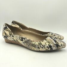 Kenneth Cole Reaction Leather Snake print Cork Flat Shoes Point Toe Size 7.5 NEW