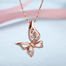 Elegant 18k 18CT Rose Gold Filled GF Butterfly Crystals Pendant Necklace N697
