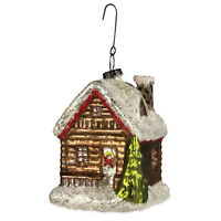 """4"""" Bethany Lowe Traditional Cabin House Glass Christmas Tree Ornament Vntg Decor"""