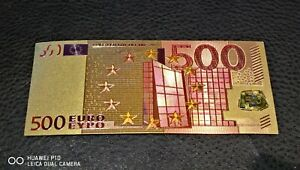 Collectable Clearance 500 Euro Gold Plated Coloured Banknote Gift Novelty