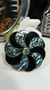 Elegant Vintage Enamel & Paua Shell Silver Floral Brooch Mexico