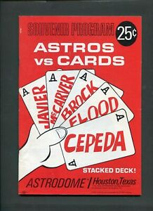 1967 Houston Astros Vs St Louis Cardinals MLB Baseball Program Astrodome 999331