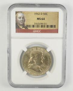 MS64 1962-D Franklin Half Dollar - 90% SILVER - NGC Graded *796